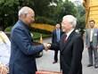 (Foto) Máximo dirigente político de Vietnam preside acto de bienvenida al presidente indio