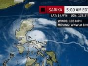 Tifón Sarika deja dos muertos en Filipinas