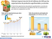 Vietnam ingresó más de 36 mil millones de USD por exportaciones de productos agroforestales y acuícolas