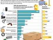 [Info] Lista de 10 productos exportables clave de Vietnam en tres trimestres de 2018