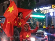 Fanánticos vietnamitas celebran la victoria de la selección nacional ante Indonesia en SEA Games 30