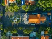 Ciudad Ho Chi Minh en los días de distanciamiento social vista desde arriba