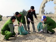 Jóvenes vietnamitas inician campaña de limpieza del mar en Thanh Hoa