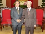 Dirigente partidista de Vietnam recibe al titular del Frente laosiano de Construcción Nacional