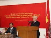 Máximo dirigente partidista de Vietnam aboga por profundizar lazos con Indonesia