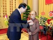 Exvicepresidenta vietnamita Nguyen Thi Binh honrada por su contribución a revolución nacional