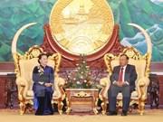 Presidenta del Parlamento vietnamita se reúne con máximo dirigente partidista y presidente de Laos