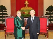 Máximo dirigente partidista de Vietnam recibe a Michelle Bachelet