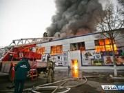 Incendio en centro comercial de vietnamitas en Orenburg, Rusia