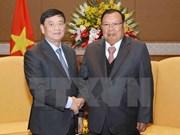 Máximo dirigente de Laos dialoga con presidente de Asociación de Amistad Vietnam- Laos