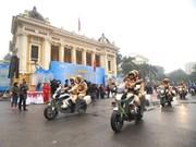 Celebran acto de abanderamiento de fuerzas policíacas por Año de Seguridad de tránsito