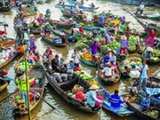 Mercado flotante – matiz único de zonas ribereñas en el Delta del Mekong