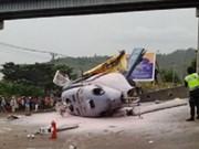 Accidente de helicóptero deja un muerto y nueve heridos en Indonesia