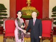 Máximo dirigente partidista de Vietnam dialoga con consejera de Estado de Myanmar