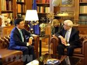 Presidente de Grecia respalda al impulso de nexos con Vietnam