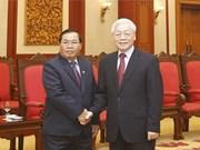 Máximo dirigente partidista de Vietnam recibe al vicepresidente del Parlamento de Laos