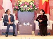 Titular parlamentaria de Vietnam da bienvenida a presidente de Indonesia