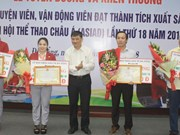 Ciudad vietnamita recompensa a atletas sobresalientes en Juegos Asiáticos 2018