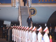 Arriba a Vietnam presidente estadounidense Donald Trump
