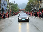 Comitiva del líder norcoreano Kim Jong-un parte hacia Hanoi