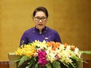 Propone máxima legisladora vietnamita impulsar reestructuración de la economía nacional