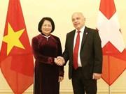 Sostiene subjefa del Estado de Vietnam encuentro con presidente suizo