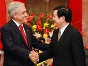 Presidente Truong Tan Sang recibe al homólogo chileno Sebastián Piñera