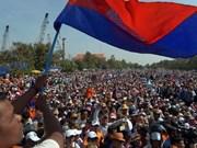 Escasa presencia en marcha contra el gobierno cambodiano