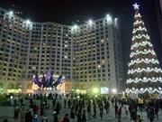Iluminan gigantesco árbol navideño en Vietnam