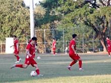 [Foto] Equipo nacional de fútbol de Vietnam prepara para primer partido con Laos en AFF Suzuki Cup
