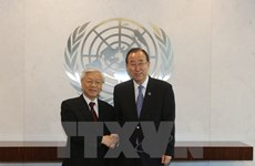 Máximo dirigente partidista vietnamita se reúne con Ban ki-moon