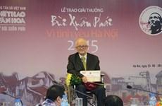 Premio de VNA honra amor a Hanoi