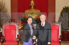 Líder partidista vietnamita reafirma solidaridad especial Vietnam - Laos