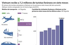 [Infografia] Vietnam recibe a 7,2 millones de turistas foráneos en siete meses