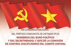 Miembros del Buró Político y del Secretariado, y Jefe de la Comisión de Control Disciplinario del Comité Central del PCV