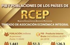 PIB y poblaciones de los países de RCEP