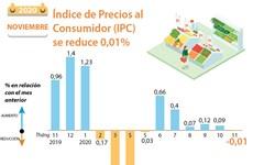 Índice de Precios al  Consumidor (IPC)  se reduce 0,01%