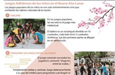 Juegos folklóricos de los niños vietnamitas en el Nuevo Año Lunar