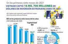 IED de Vietnam alcanza 16 mil 700 millones de dólares de enero a julio