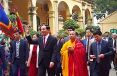 Presidente asiste a ceremonia tradicional en ciudadela imperial Thang Long