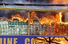 Myanmar y Tailandia incineran drogas incautadas valoradas en mil millones de dólares
