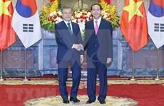 Recibe presidente de Vietnam a su homólogo de Sudcorea en el Palacio presidencial