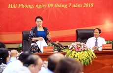 Presidenta parlamentaria de Vietnam recorre por ciudad norteña de Hai Phong