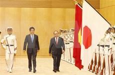 Efectúan acto de recibimiento oficial al premier vietnamita en Japón