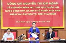 Presidenta del Parlamento de Vietnam pide desarrollar agricultura orgánica en Thai Binh
