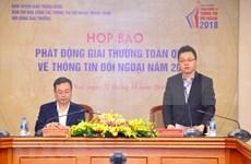Lanzan convocatoria del Premio Nacional de Información para el Exterior 2018 de Vietnam
