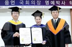 Presidenta del Parlamento de Vietnam recibe título honorífico de universidad sudcoreana