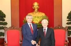 Máximo dirigente político de Vietnam recibe a presidente de Duma Estatal de Rusia