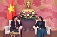 Vicepresidenta del Parlamento de Vietnam recibe a jefa de Auditoría Estatal de Laos