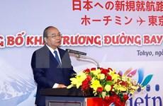 Participa primer ministro de Vietnam en inauguración de nuevos vuelos entre su país y Japón